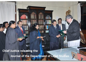 Chief Justice releasing the Journal of the Department of Legal Studies