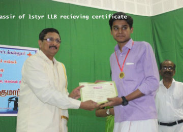First year LLB receiving Certificate